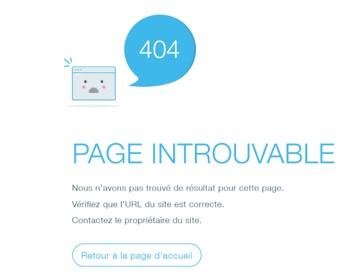 erreur 404 - Page introuvable